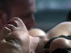 He puts his finger between her sensual lips and she sucks it with lust. The hot mom feels horny and she needs his love. Luckily he knows how to deal with sluts like her and goes between her thighs, pulls over her panties and licks her cunt. The milf has a superb, tight pussy that he's about to exploit