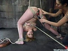 Gia Paloma is playing BDSM games in a basement. She gets bound and tormented and then enjoys a few wired dildos sending current rushes to her nice pussy.