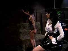 Jezebelle Bond and Natasha Sweet are playing dirty games indoors. The short-haired cutie kneels in front of her mistress and gets humiliated and spanked.
