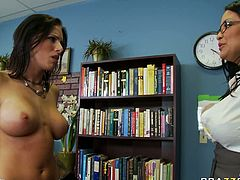 Tough woman caresses busty girl in front of horny man. She later orders the girl to suck hard stick deepthroat. Kinky porn clip presented by Brazzers Network.