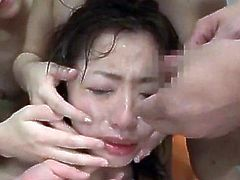 Japanese hooker gangbanged for bukkake in shower orgy