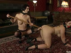 This gorgeous and sizzling siren Bella Rossi and Cherry Torn are being humiliated and abused. Babes are tied up with ropes and forced to fuck each other!