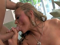 Busty young chick Carmen McCarthy fucks her twat with dildo before she takes guys rock hard cock. She gives headjob and then gets her pussy stuffed. Watch stacked girl get hardcored.