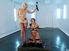 Naughty brunette girl gets dominated by blonde Lorelei Lee. Juliette gets her tits and pussy hit with electricity. Later on she also gets toyed and fingered.
