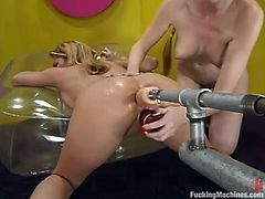 Some fetish pleasures these chicks are having on a machine