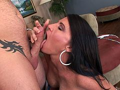 A dude called Jenner pleases brunette hottie Kendra Secrets with fingering. Then he slides his schlong into her cunt and fucks it hard doggy style.