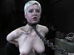 Well-endowed short-haired blonde Cherry Torn is getting her punishment in a basement. She gets bound and beaten by Sgt. Major and then enjoys a dildo in her awesome smooth pussy.