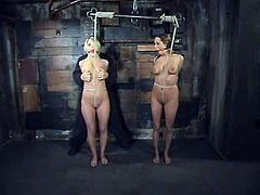 Lacie Hart and Sasha Sparks get undressed and then bound. Later on these hotties get their pussies toyed and tits clothespinned.