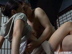 Sexy japanese housewife with natural tits and nice ass taking hard cock in her wet pussy in her house after being seduced by horny neighbor.