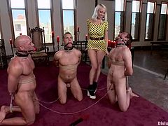 The greatest moments of BDSM video with a slender bitch Lorelei! She bondages all these three men and gives them a hell of a pain!