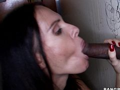A horny brunette bitch sucks on a hard cock and then gets her fuckin' pussy stuffed with hard cock, check it out right here!