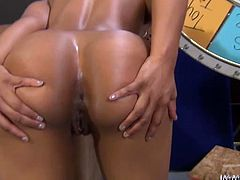 That horny Ebony babe Misty Stone is very horny when white naked guy is in front of her, she is ready for long and wild cock ride.