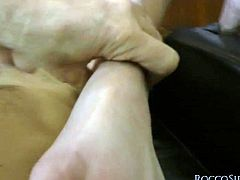 This mature harlot knows how to share and now it's her friend's turn to ride this hard cock. Slim bimbo rides it passionately like a true cowgirl. Then she pleases him with a footjob with those perfect feet of hers.