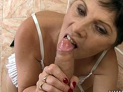 This horny MILF needs a cock so much that she ripped her son's friend's pants and gave a nice blowjob to him.Watch this crazy and horny MILF giving a blowjob in 21 Sextury sex clips.