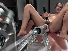 See how many orgasms Amber Rayne gets in this solo video where she gets her twat fucked by machines!