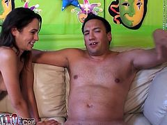 Slim brunette chick gets her ass licked. Then she smears guy's dick with whipped cream and give passionate blowjob. This hottie also gives him a rimjob.