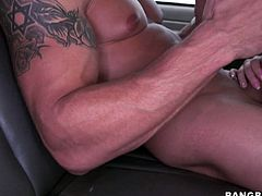 Handsome man having strong sexy body gets into bang bus where blonde babe gives him a head
