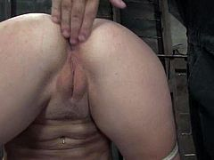 Charming blonde Annette Schwarz allows some man bind and hang her up in a basement. The dude pulls the chick by the nipples, fingers her clit and then slams her pink cave with a dildo.