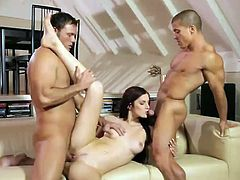 Beautiful slim chick Mira Sunset is having fun with two dudes in the living room. She astonishes the guys with her cock-sucking abilities and then they have ardent threesome banging with DP.