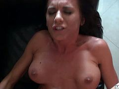 This charming and passionate siren is going to amaze her man! She gives him a hot BJ and then rides to get her boobs spanked.