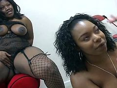 Two sexy ebony sluts both share sucking a white mans cock and takes a big load to the face.Enjoy these two raunchy bbw black ghetto tricks suck and slurp on one lucky white stud's white cock