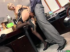 This horny boss will never a miss a chance for a good, hard fuck! He bends his office assistant over the desk and bangs her twat from behind. After a while he pounds her wet snatch in missionary position.