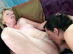 Granny and hot chick have wild lesbian sex. They kiss and also lick each others pussies. After that the granny gets her pussy toyed with big dildo.