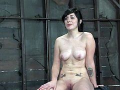 Cute brunette chick Andy San Dimas is having fun with some guy in a cellar. She lets the man bind her and then gets her vag rubbed with a dildo.