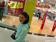 I was at the mall, searching for a fuck, when Laura caught my attention. Laura is a sweet bitch, dark hair, nice titties and a mouth, that could use a dick in it. Although she seems easy to fuck, she's not gonna do it for free. Some cash solves that in the mall's bathroom, so here you have her, sucking my cock!