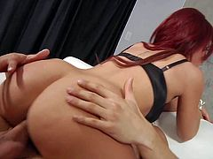 Provocative redhead slut Brooklyn Lee with natural tits huge round bums screams while muscled Danny Mountain is drilling her shaved pink cunny in awesome positions all over living room.
