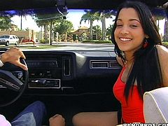 Hear Abella hitting high notes inside this guy's low rider as her fingers this mami's wet pussy before she sucks his big cock.