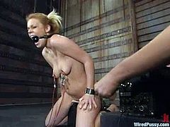 Gia Paloma is getting her punishment for being so naughty. She gets tormented and fucked with a wired dildo and enjoys it a lot.