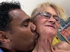 Skinny granny Beata is mad about big cocks! She's turned on by this dude and he kisses her neck, before she remains without her red panties. Then the slut opens wide her mouth and swallows his big, black penis. Look at her mouth being stuffed and how much she enjoys herself. Will granny gonna get jizzed?