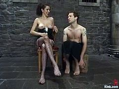 Elliot gets tied up by his mistress and then he gets his ass drilled with a strap-on from behind. Then she also toys his dick with a vibrator.