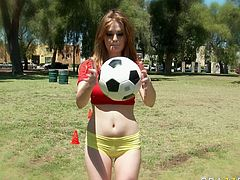 Skanky red haired teen chick looks damn sexy and hot in sporty outfit. She fondles her pussy in a changing room fantasizing about handsome coach. She later seduces him for sex and sucks his dick deepthroat.