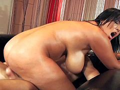 Raven haired BBW Jasmine Black with phat ass and huge natural tits shows her assets to hot guy and gets her vagina drilled. She takes it in her pussy after giving great titty job. Shes so hot!
