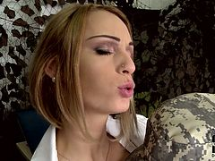 Sizzling soldier gets special treatment from kinky and horny Doctor. Redhead medical officer tickles her patient's nipples with tongue. Later on she stretches Erica's pussy lips exposing wet pink pussy in closeup shot.