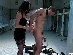 Stunning brunette mistress humiliates her sex slave and forces him to suck another dude's dick. Then she also gets her pussy licked and fucked.