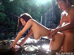 Japanese slut with big tits and hot ass getting her wet pussy drilled by a hard cock before sucking this horny guy. She gets cum on tits at the end.