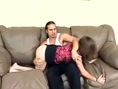 Watch this babe being spanked by her boyfriend on camera as you take a look at her round soft ass as she lays on a sofa.