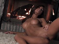 Heather Vandeven with giant jugs and shaved pussy makes her sexual fantasies come true alone
