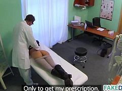 Brunette babe gets fucked in fake hospital