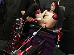What a steaming hot and gorgeous siren Melly Winters is! She gets naked and spreads her legs for a machine fuck! Dude helps her out!