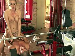 It's workout time and this babe with big tits gets her exercise mostly by fucking. As you can see here her favorite move is bending over to get fucked doggystyle.