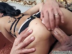 provocative brunette having juicy ass rides meaty pole. Her appetizing buns look awesome in cowgirl style. Just enjoy watching Harmony Vision sex tube scene.