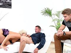 Miss Blache may look like and angel, but she's just a fucking filthy whore, that's looking for revenge! She wants to give her ex a lesson, so what better way to do so, then fuck with another guy, under his eyes! The blonde kneels, unbuttons a dude's pants and sucks him hard. She swallows his dick like a whore!