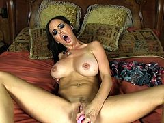 Big tits raven loves stroking this large toy all over her needy cunt in hot solo