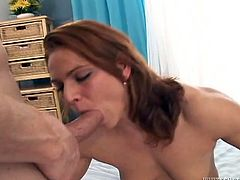 Jasmina takes the shower after a workout. Then she gives a blowjob and gets her feet licked by Dillon Day. Then this redhead girl gets fucked and facialed.