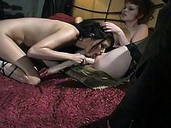 Tera takes out her best double sided dildo and puts one end in her vagina and the other end in Justine's vagina. The push against each other and pleasure each other's pussies like the nasty sluts that they are.