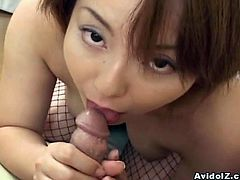 This horny Japanese babe has only one thing in mind and that is to make her man cum. She sucks and wanks him long and hard before he delivers her a face full of hot, sticky cum!